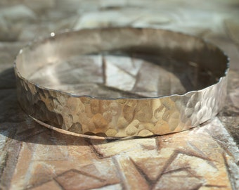 Handmade Hammered Sterling Silver Bangle, Wide Bangle, Hammered Bangle,Textured Bangle