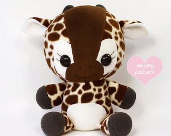 "PDF Giraffe sewing pattern - kawaii stuffed animal plush - DIY cute plushie anime 16"""