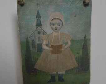 hanging wood sign american rustic girl izannah walker type image shabby chic country decor