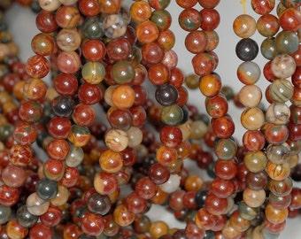 6mm Picasso Jasper Gemstone Round Loose Beads 15.5 inch Full Strand (90184142-355)