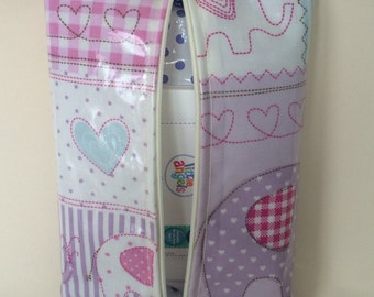 Baby wipes holder Case in pink elephant oilcloth