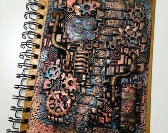 Personalized  Polymer Clay Journal, Steampunk Journal, Handmade Journal, Steampunk  Notebook, Spiral bound notebook, Diary, OOAK