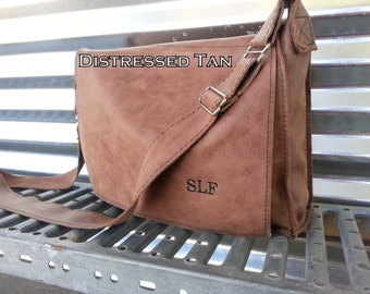 Leather Satchel, Made in the USA, Raw Leather Messenger Bag, Man Bag, Student Bag,