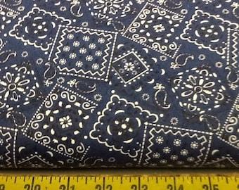 Dark Blue Blazin Bandana Fabric by the yard