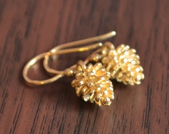 Gold Pine Cone Earrings, Woodland Wedding, Gold Plated Bronze, Pinecone, Dainty and Petite, Gift for Women, Fall Jewelry