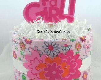 Girl Diaper Cake   Baby Diaper Cake   Pink diaper cake   Mini diaper cake   Baby shower gift   Baby shower decoration   New mom gift