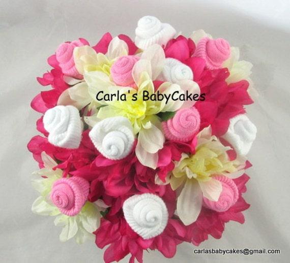 Floral Baby Bouquet Baby Sock Flower Arrangement Baby