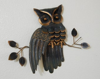 """11"""" Hammered Metal Owl 3D Wall/Home Decor"""