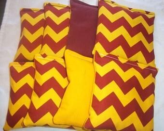 8 ACA Regulation Cornhole Bags - Burgundy & Yellow Chevron Stripes