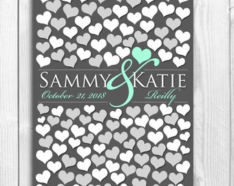 Wedding Guestbook Poster Extra Large | Engagement Gift | Bridal | Dark Gray Personalized | 122 Guest Sign In 18X24 | BRIDAL GIFT POSTER _01
