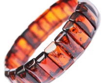 Elegant Amber Bracelet - Little Squares, stretch to fit wrists of all sizes. Comes with lovely gift box.