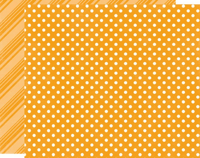 2 Sheets of Echo Park Paper DOTS & STRIPES Brights 12x12 Scrapbook Paper - Tangerine (DS15025)
