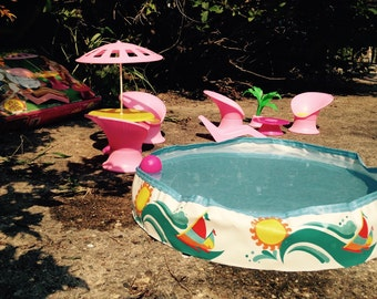 SALE-1988 California Dreamin Barbie Patio Pool Party (Incomplete But Extra Pieces); Vintage Barbie Pool Furniture