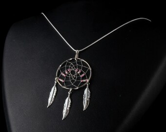 Silver dream catcher Necklace with pink and silver beads and 3 feathers, Native American inspired, boho, dream catcher jewelry, tribal