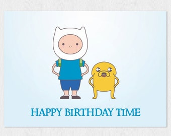 Funny birthday cardFinn & Jake Adventure Time - Happy Birthday   - PDF DIY Printable 6x4 inch - Printable greeting card instant download