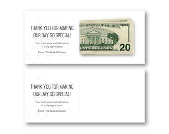 Vendor thank you etsy modern wedding vendor thank you card tip envelope printable junglespirit Image collections