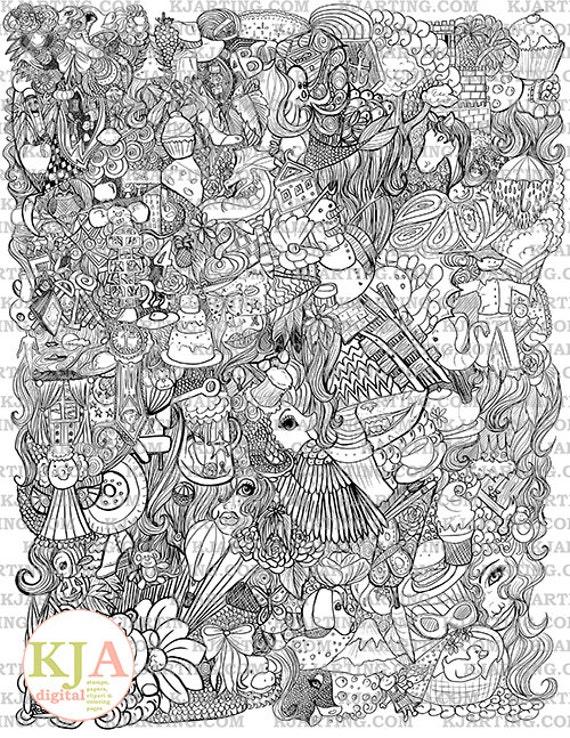 Line Art Zendoodle : Zendoodle coloring page line art printable zen