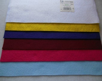 KUNIN Rainbow Classic Felt Six  9x12  Sheets Assorted 1@ Baby Blue, Shocking Pink, Ruby, Royal Blue, Yellow, White