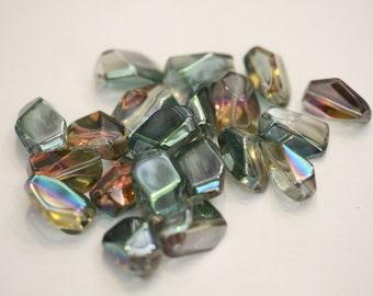 Green Rainbow  Free form Glass Beads