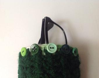 Eyeglasses case, crochet, green