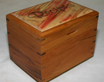 Recipe Box for 4x6 cards with card holder for easy viewing - Cherry with a wormy box elder top # 169