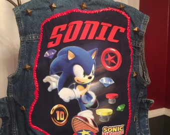 Sonic the hedgehog  inspired jean vest