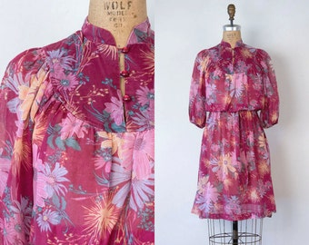 VINTAGE 1970s japanese floral magenta bohemian midi dress | Gauzy boho tunic dress