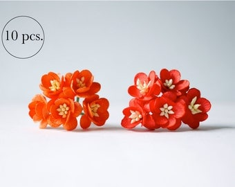Paper flower,10 pieces mulberry cherry blossoms; 5 pcs. orange and 5 pcs. red color.