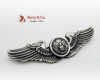 United States Crest Winged Brooch Pin Sterling Silver 1940