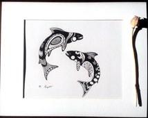 "Salmon Art, Black and White Ink Drawing, Fish Illustration, 8"" x 10"" Print, Salmon Egg Drawing, Mates, Salmon Love"