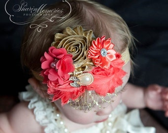 Coral Gold Headband/Flower Girl Headband/Photo Prop Headband/Baby Headband/Infant Headband/Newborn Headband/Toddler Headband/Girls Headband