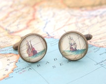 Nautical Cufflinks Antique Clipper on Map Father of the Bride Weddings Gift Idea Cuff Links Ship Boat Nautical Accessories for Men
