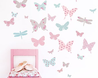 Butterfly Wall Stickers (fabric wall decals not vinyl)