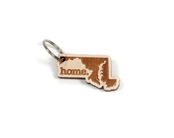 Maryland Key Charm by Home State Apparel: Laser Engraved Wood Keychain, MD