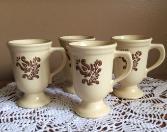 Grandmug in Village (Made in USA) by Pfaltzgraff , Discontinued Pfaltzgraff  Brown on Cream, Replacements, Footed Mug Set