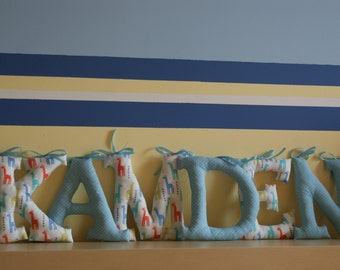 """Fabric Wall Letters, Big Letters 7,1"""", Name of Child, Name Banner, Nursery, Handmade"""