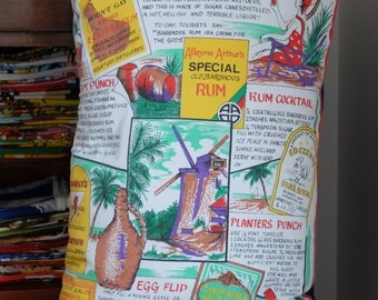 Vintage Barbados Rum Tea Towel Cushion