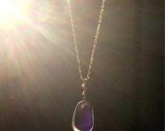 Purple and white multi sea glass necklace, rare english multi sea glass, 14k gold filled jewelry
