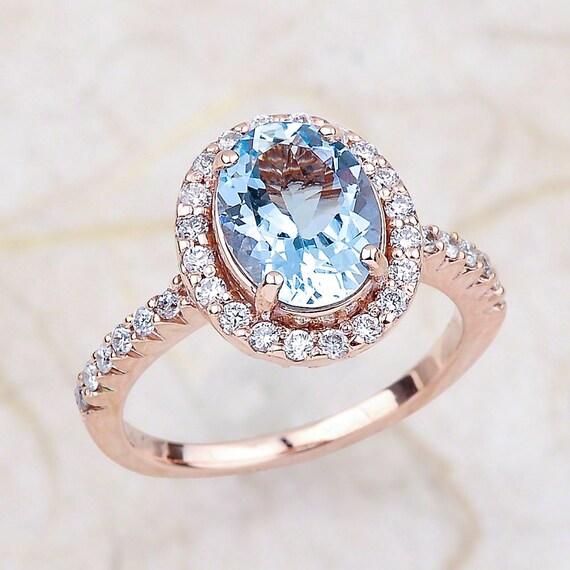 Aquamarine Engagement Ring - 9x7 Oval Aquamrine Wedding Ring - Halo Diamond Ring - 14Kt Rose Gold Engagement Ring