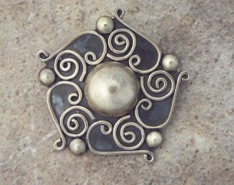Mexican Silver Brooch Pendant with Taxco Hallmarks TO-77 mexico 925