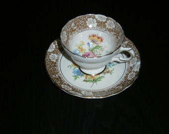 Rosina Cup & Saucer, Floral bouquet, Bee, Wasp,Brown Dogwood Edge, Vintage, 1940s