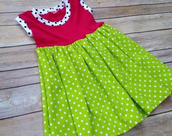 Knit tank dress. Hot pink, lime green polka dots - toddler and girl sizes