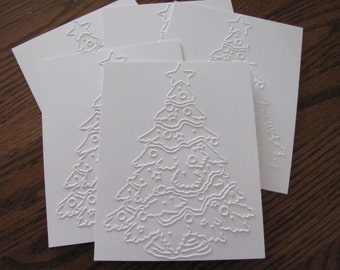 Christmas Tree Cards, Set of 12, Embossed Christmas Card Set, Holiday Cards, Christmas Card Boxed Sets, Holiday Card Set, Christmas Card Set