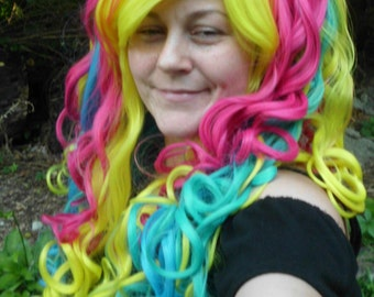 Rainbow Wig, Long Curly Rainbow wig, Lolita, Cosplay, long Rainbow Wig, Long curly, wavy wig, Mulitcolor, Mixed color, Ponytail, pony tail