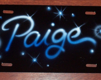 Airbrushed High Quality Heavy metal license plate car tag PERSONALIZED..up to 4 words