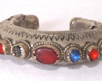 Special Vintage Afghani Jewelled Kuchi Metal Bracelet ET36