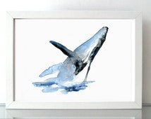 Humpback Whale Watercolor - Giclee print - Animal Painting - Whale Art - Jumping whale illustration - Zen Art