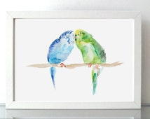 Valentine art - Love birds - parakeet Watercolor Painting - Giclee print - parrot painting  Blue green animal painting on Fine Art paper