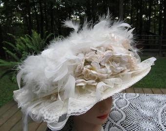 Beautiful Victorian Romantic Ivory Hat