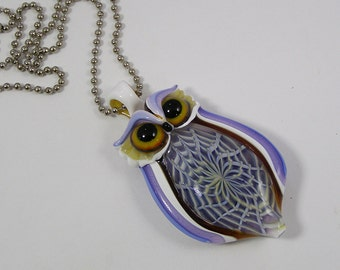 Flameworked Glass Owl Pendant-Boro Pendant-Focal Bead-Glass Necklace-Lampwork Pendant-Heady Pendant-Owl Pendant